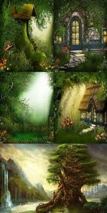 Forest clearings and houses - backgrounds