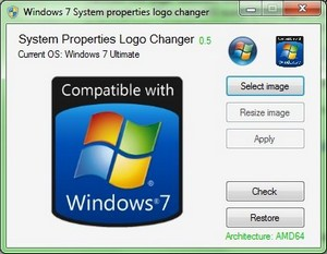 Windows 7 System Properties Logo Changer 0.6 [Eng]