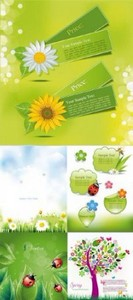 The breath of spring card design vector
