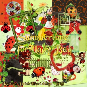 Scrap Set - Summertime for Lady Bug PNG and JPG Files