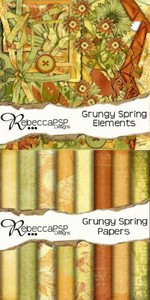 Scrap Set - Grungy Spring PNG and JPG Files