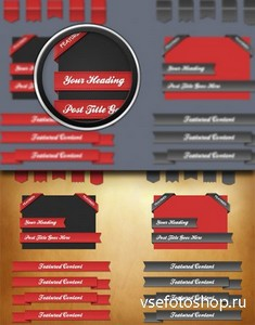 PSD Web Elements - Red Ribbons For Creative Design 2013