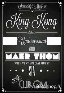 PSD Source - King Kong Typographic Flyer