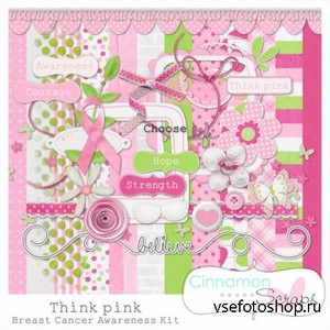 Scrap Set - Think Pink PNG and JPG Files