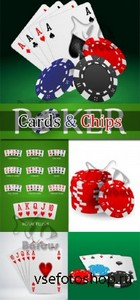 Pocer cards and chips / Покер - карты и фишки - Vector stock
