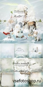 Scrap Set - North Pole Trip - Ice Land PNG and JPG Files