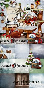 Scrap Set - Painted Christmas PNG and JPG Files