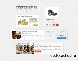 PSD Web Design - Different Kind Of List