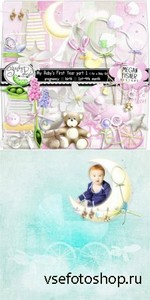 Scrap Set - My Babys First Year (for a Baby Girl) PNG and JPG Files