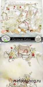 Scrap Set - Christmas Cakes PNG and JPG Files