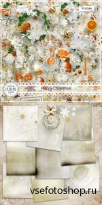 Scrap Set - Happy Christmas PNG and JPG Files