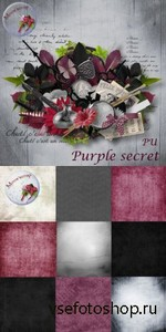 Scrap Set - Purple Secret PNG and JPG Files