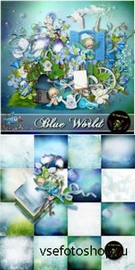 Scrap Set - Blue World PNG and JPG Files