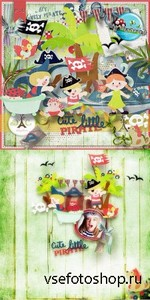 Scrap Set - Cute Little Pirate PNG and JPG Files