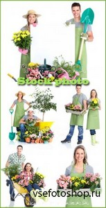 Садоводство / Gardening, a man and woman with flowers - raster clipart