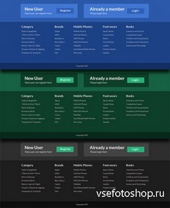 PSD Web Design - Beautiful Footer - Blue, Black, Green