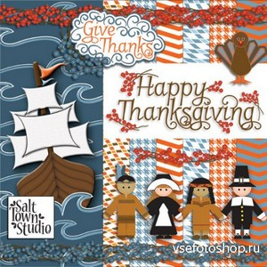 Scrap Set - Happy Thanksgiving PNG and JPG Files