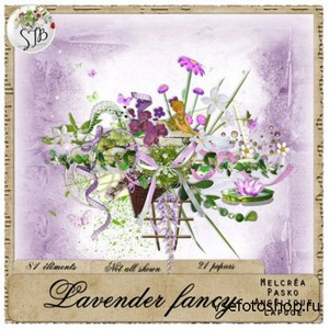 Scrap Set - Lavender Fancy PNG and JPG Files