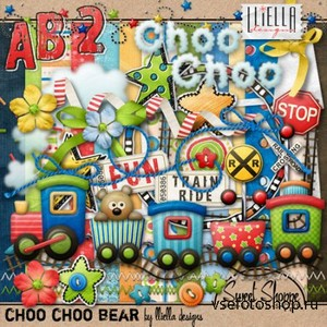 Scrap Set - Choo Choo Bear PNG and JPG Files