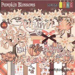 Scrap Set - Pumpkin Blossoms PNG and JPG Files