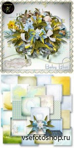 Scrap Kit - Baby Blue PNG and JPG Files