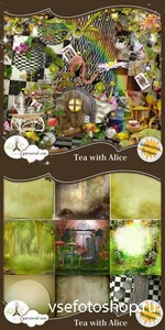 Scrap Set - Tea With Alice PNG and JPG Files