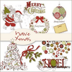 Scrap Set - Naive Xmas PNG Files