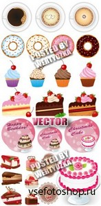 Торты и кексы / Cakes and cupcakes - stock vector