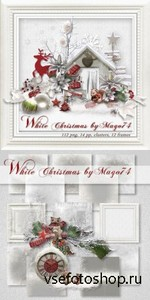 Scrap Kit - White Christmas PNG and JPG Files