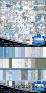 Scrap Set - A Teddy Bear Winter PNG and JPG Files
