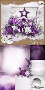 Scrap Set - Icy Purple PNG and JPG Files