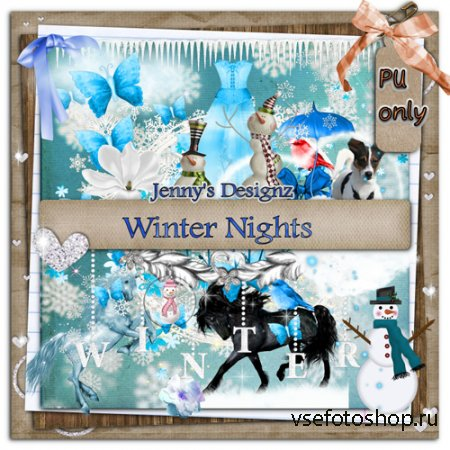 Scrap - WInter Nights Kit PNG and JPG Files