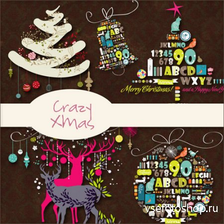 Crazy Xmas Kit PNG and JPG Files