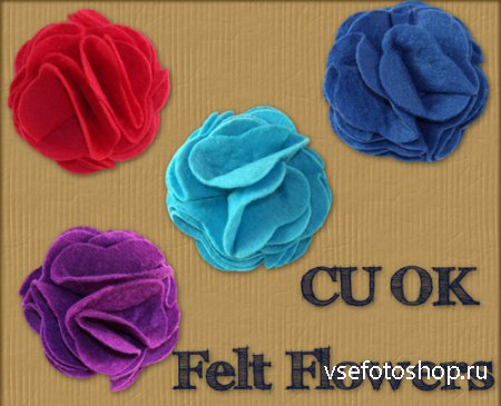 Felt Flowers PNG Files