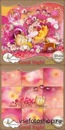 Scrap Set - Good Night Girl PNG and JPG Files