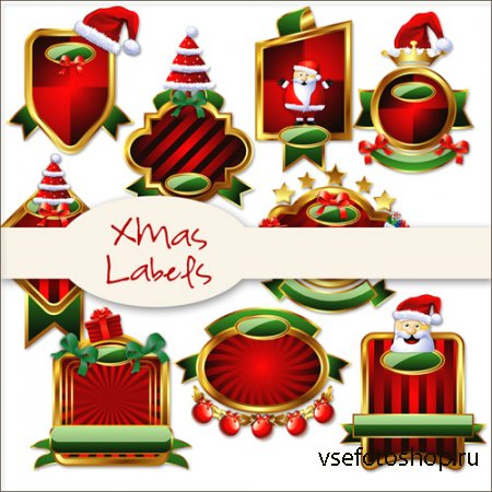 Xmas Labels Kit 2 PNG Files