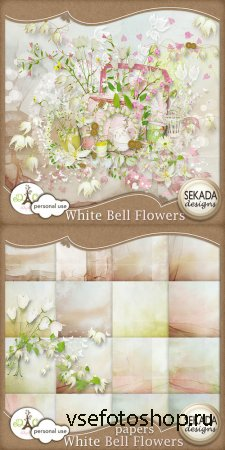 Scrap Set - White Bell Flowers PNG and JPG Files