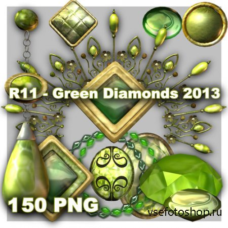 Green Diamonds PNG Files