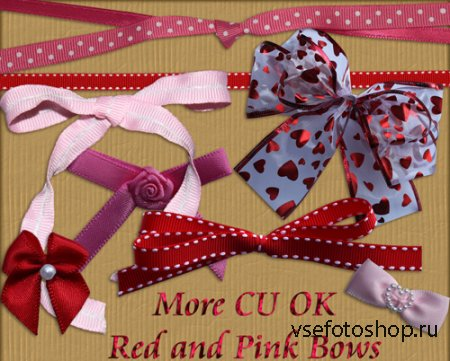 Red and Pink Bows PNG Files
