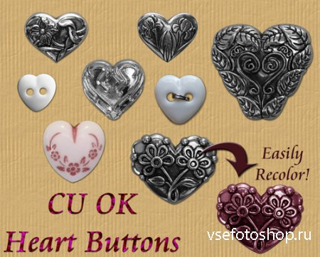 Heart Buttons PNG Files