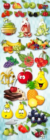Vitamin Set - Berries and Fruits PNG Files