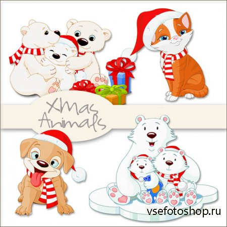 Xmas Animals PNG Files