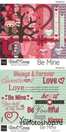 Be Mine Set and Wordart PNG and JPG Files