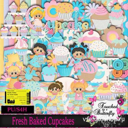 Scrap Set - Fresh Baked Cupcakes PNG and JPG Files