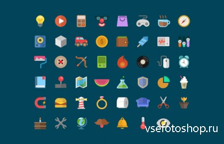 Creative Cartoon Style Flat Icons Set