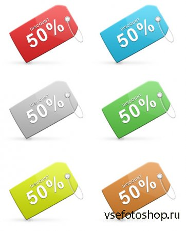 Colorful Sales Discount Tags Set