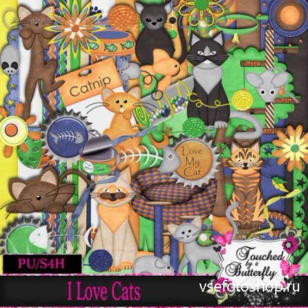 Scrap - I Love Cats PNG and JPG Files