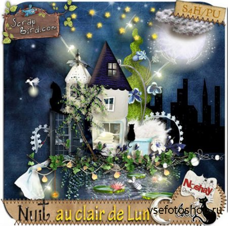 Scrap - Nuit au Clair de Lune PNG and JPG Files