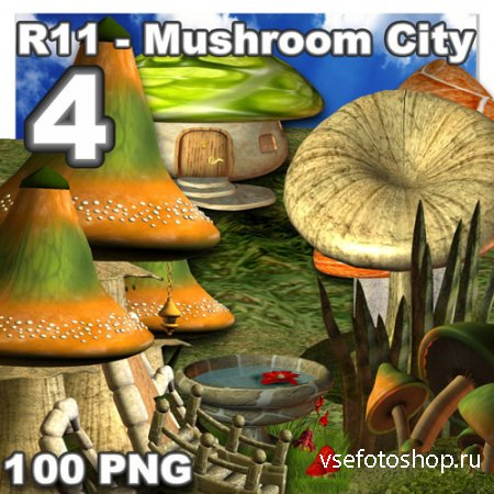 Mushroom City - 4 PNG Files