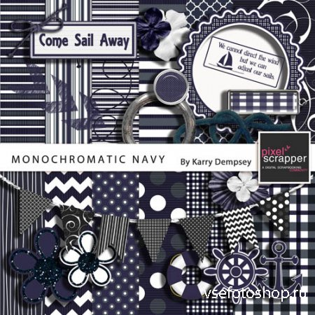 Scrap - Monochromatic Navy PNG and JPG